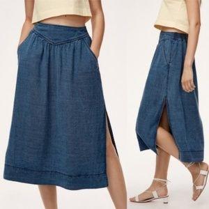 Aritzia Wilfred Gabrielle Midi Skirt Medium Indigo